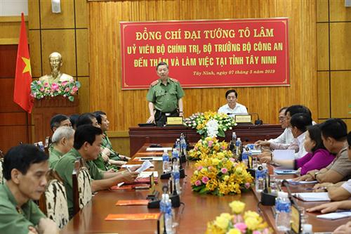 Bộ trưởng Tô Lâm thăm và làm việc tại tỉnh Tây Ninh