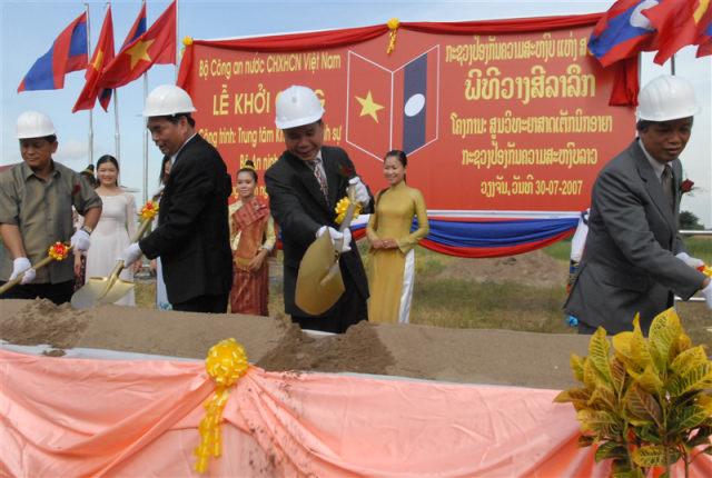 118.Lễ khởi công xây dựng Trung tâm Kỹ thuật hình sự, Bộ An ninh Lào do Bộ Công an Việt Nam viện trợ
