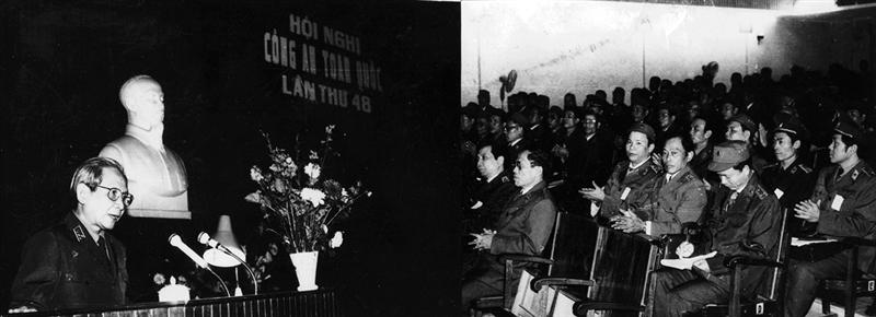 32.Đồng chí Bùi Thiện Ngộ, Bộ trưởng Bộ Nội vụ đọc diễn văn khai mạc Hội nghị Công an toàn quốc lần thứ 48, ngày 28.12.1992