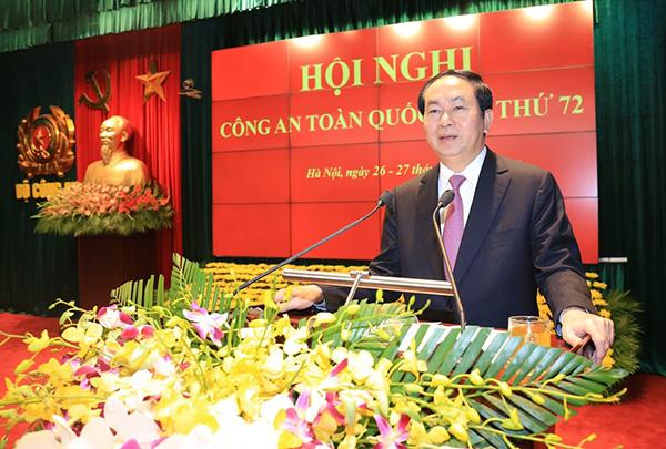 54. Chủ tịch nước Trần Đại Quang phát biểu tại Hội nghị Công an toàn quốc lần thứ 72 năm 2016
