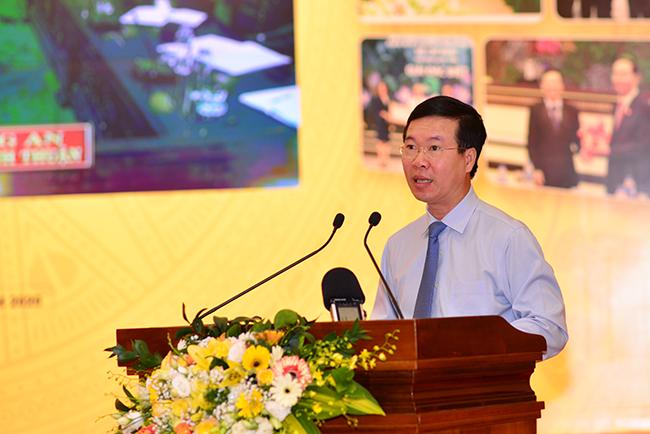 Đồng chí Võ Văn Thưởng, Ủy viên Bộ Chính trị, Bí thư Trung ương Đảng, Trưởng Ban Tuyên giáo Trung ương phát biểu khai mạc Hội thảo